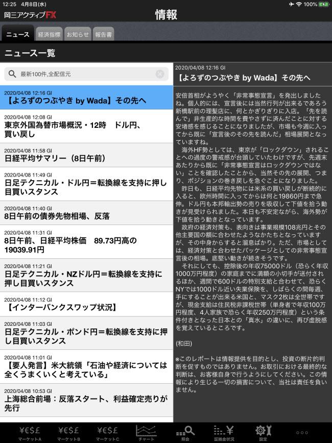 岡三オンライン証券[岡三アクティブFX]iPadマーケット情報画面
