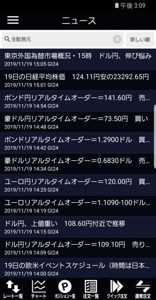 岡三オンライン証券[岡三アクティブFX]のAndroidニュース画面