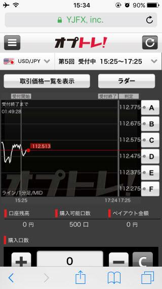 YJFX![オプトレ!]のiPhoneトップ画面