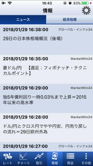SBIFXトレード[SBIFXTRADE]iPhoneニュース画面