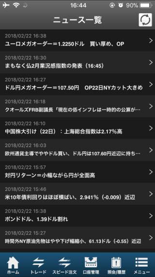 SBI証券[SBIFXミニ]iPhoneニュース画面