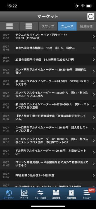 SBI証券iPhoneニュース画面