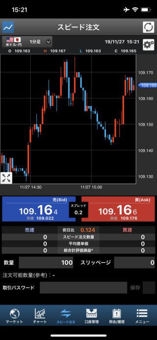 SBI証券のiPhoneスピード系注文画面