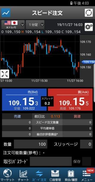 SBI証券[SBIFXミニ]のAndroidスピード系注文画面2