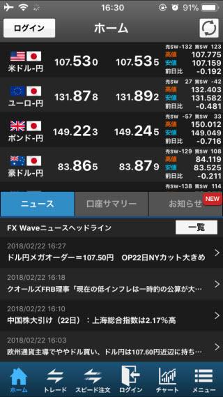 SBI証券[SBIFXミニ]iPhoneTOP画面
